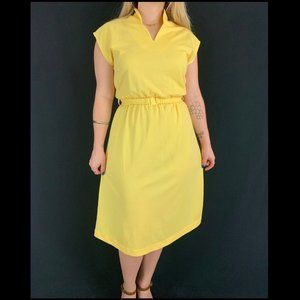 70s Mari Lynn Fashions Yellow Day Dress